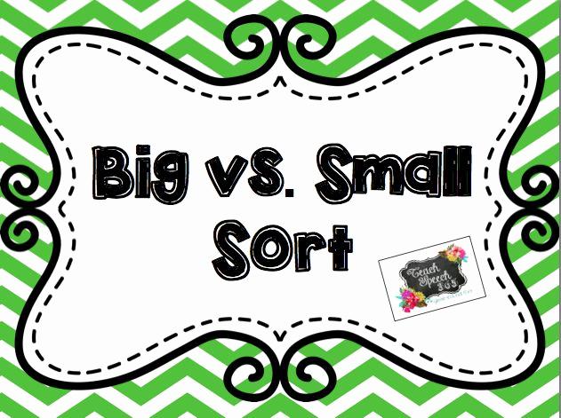 Big Vs Little Worksheets Best Of Big Vs Small sort [freebie]