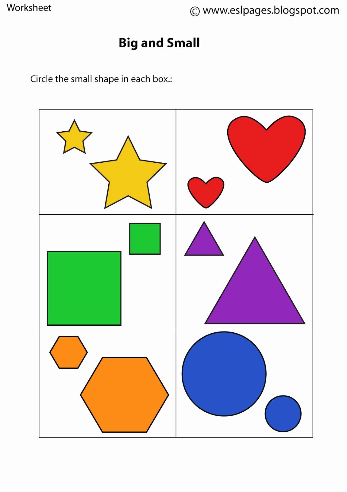 Big Vs Little Worksheets Elegant Esl Pages Size Worksheets