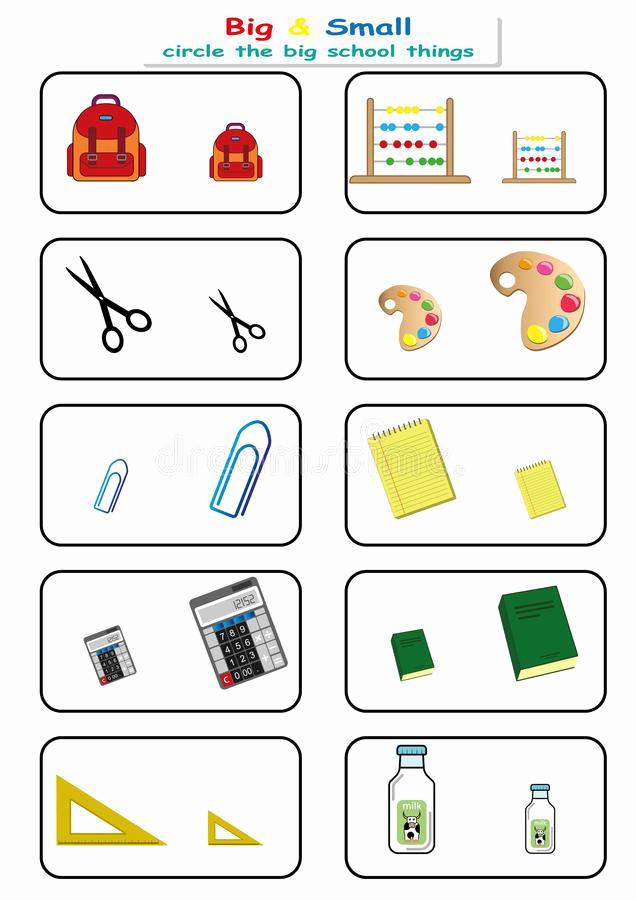 Big Vs Little Worksheets Elegant Find Big Small Worksheet for Kids Opposite Stock