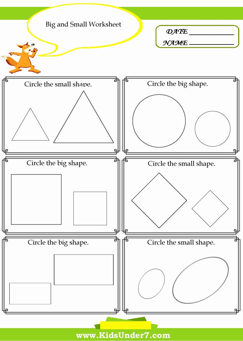 Big Vs Little Worksheets New Bigger and Smaller Worksheets