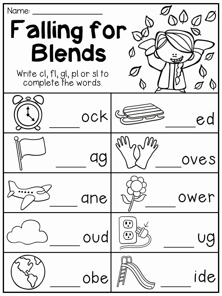 Blends Worksheet for First Grade Awesome Fall Math and Literacy Worksheet Pack First Grade