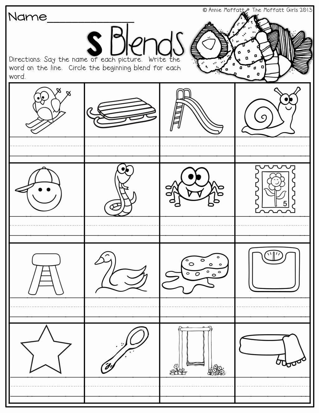 Blends Worksheet for First Grade Awesome the Moffatt Girls Winter Math and Literacy Packet First