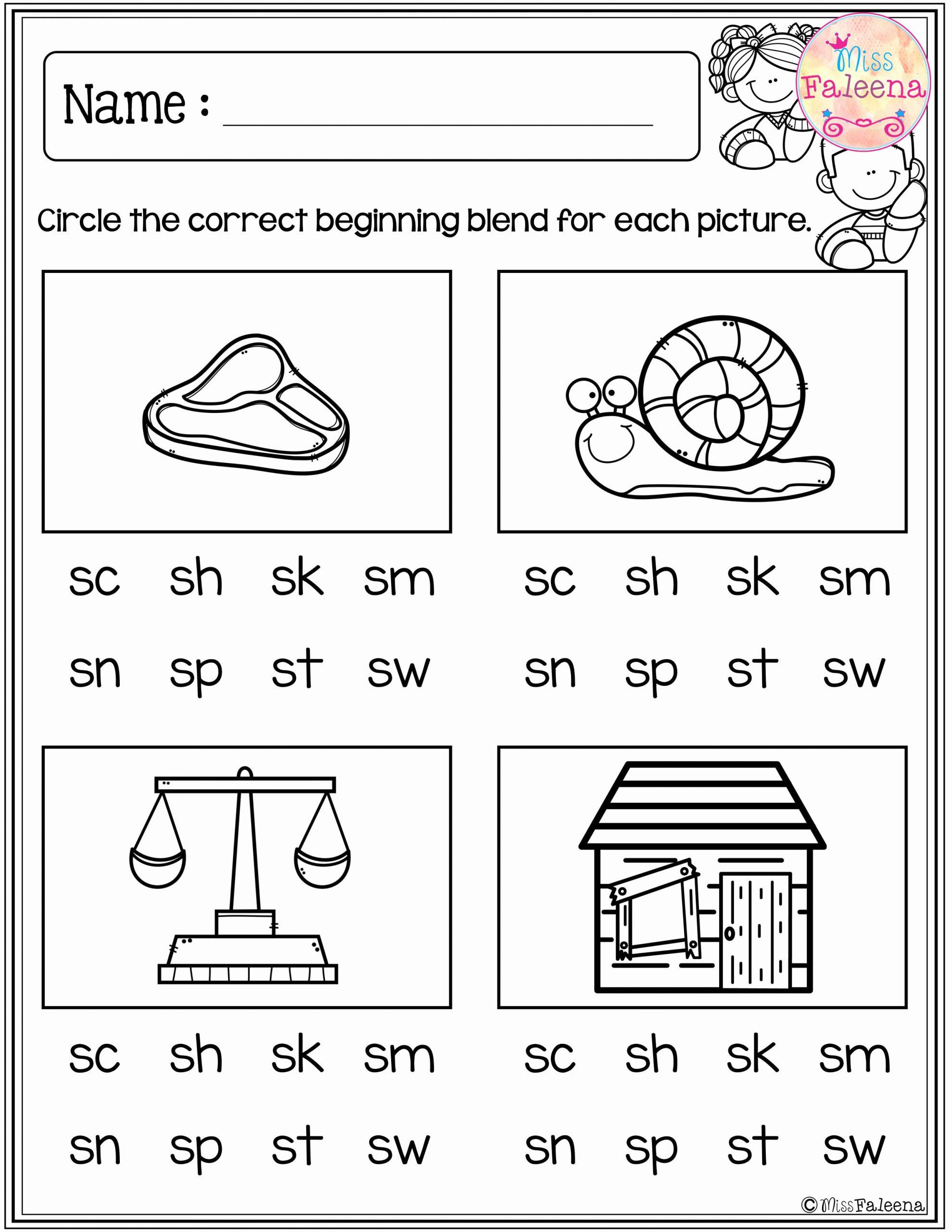 Blends Worksheet for First Grade Beautiful First Grade Beginning Blends Worksheets thekidsworksheet