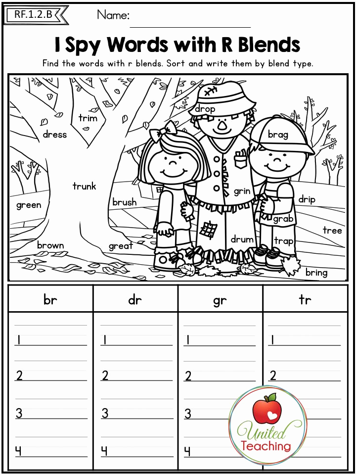 Blends Worksheet for First Grade Lovely Fall Literacy Worksheets No Prep 1st Grade Distance