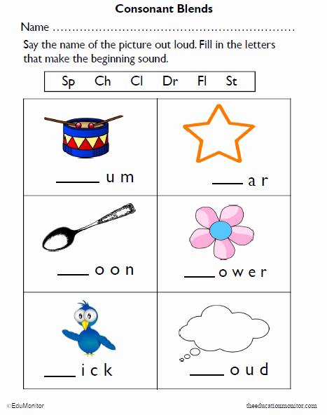 Blends Worksheet for First Grade New Consonant Blends Pdf for 1st Grade Kids the Edumonitor
