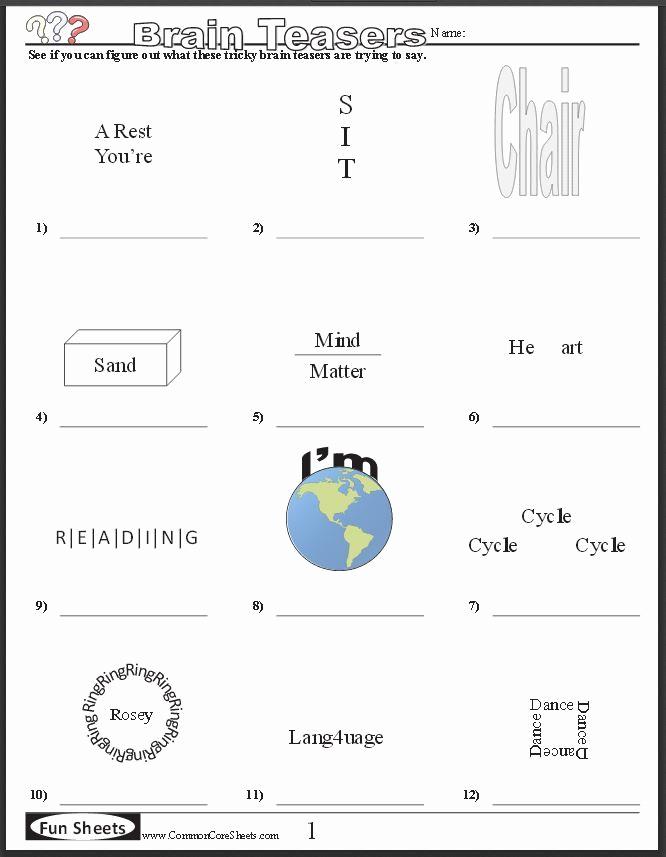Brain Teaser Worksheets Best Of Free Brain Teaser Printables Four Free Worksheets that