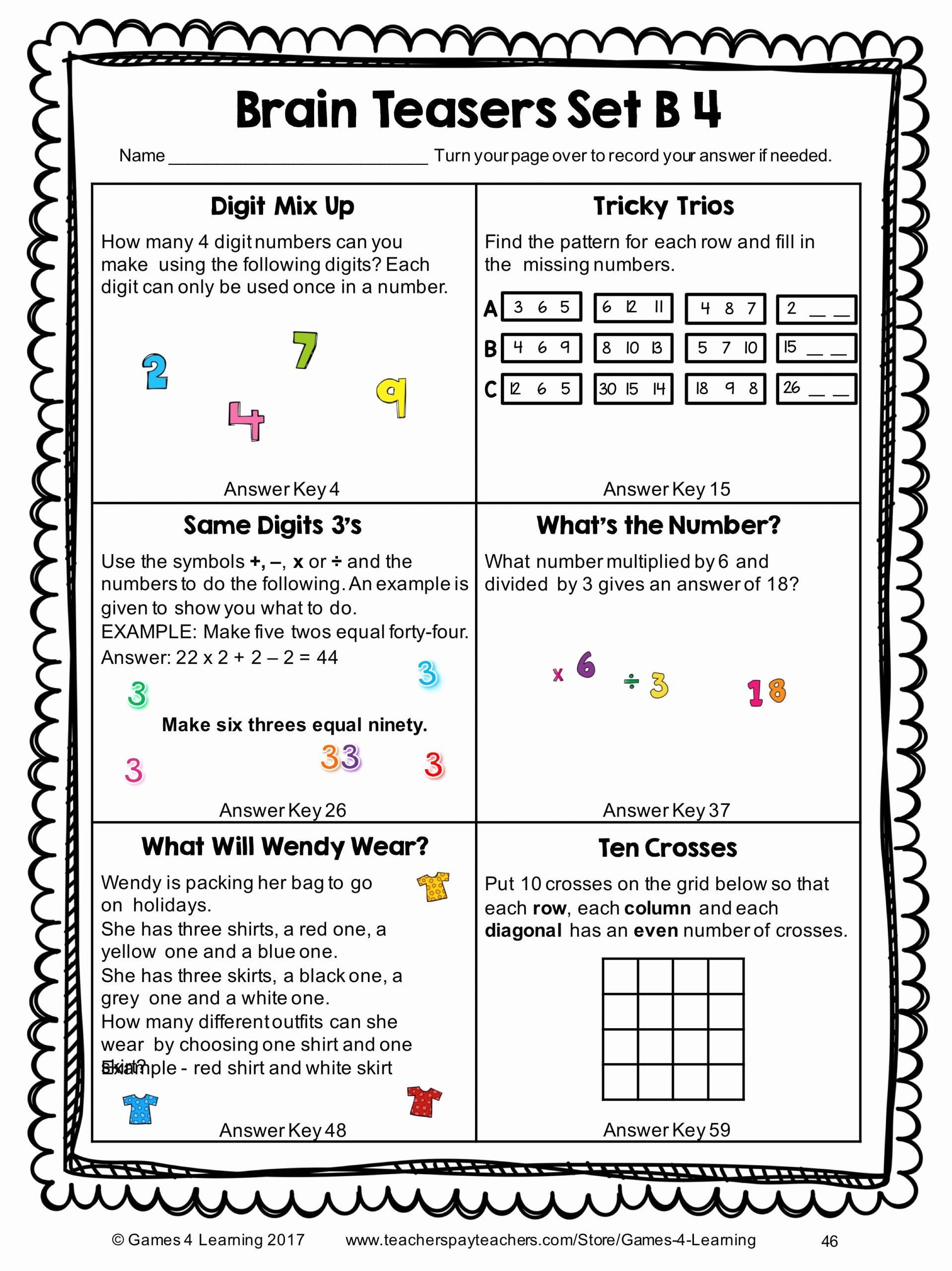 Brain Teaser Worksheets Elegant 6th Grade Brain Teasers Worksheets