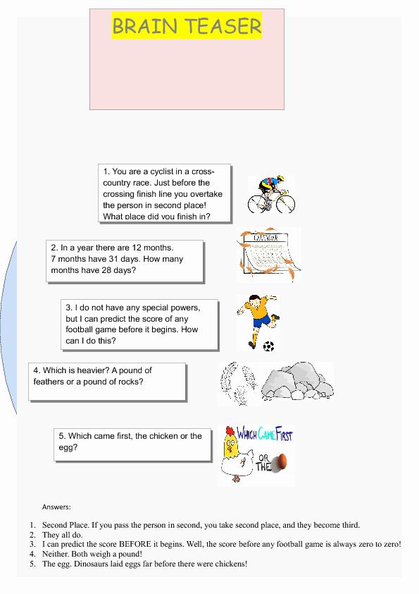 Brain Teaser Worksheets Elegant 80 Free Brainteasers Worksheets