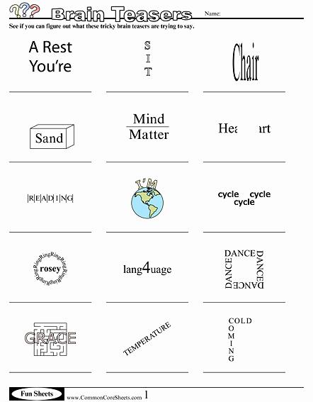 Brain Teaser Worksheets Inspirational Brain Teaser Worksheets