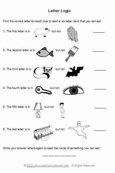Brain Teaser Worksheets New Brain Teaser Worksheets for Spelling Fun