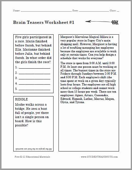 Brain Teaser Worksheets Pdf Awesome Brain Teasers Puzzle Worksheet 1