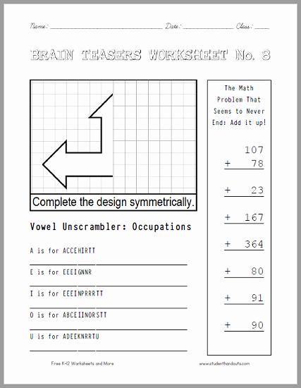 Brain Teaser Worksheets Pdf Lovely Brain Teasers Worksheet 8