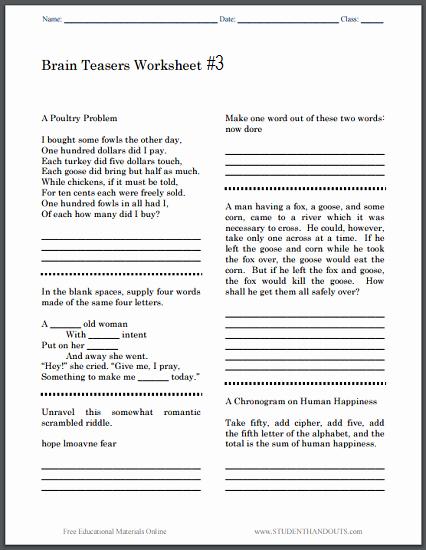 Brain Teaser Worksheets Pdf Luxury Brain Teasers Worksheet 3