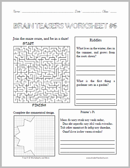 Brain Teaser Worksheets Pdf Luxury Brain Teasers Worksheet 6 Here is A Fun Handout Full Of