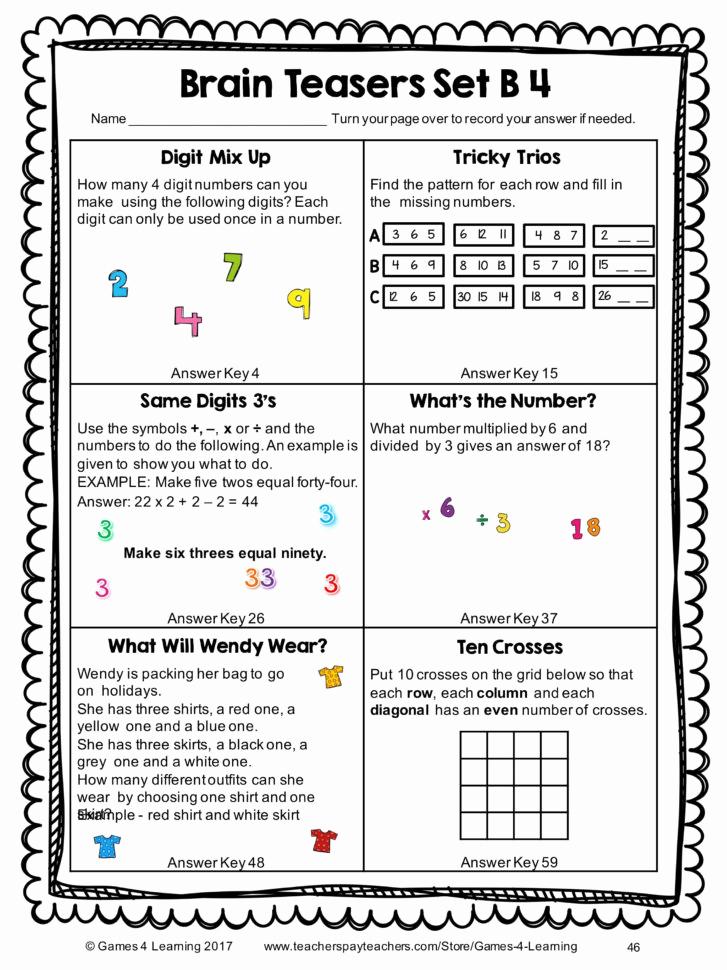 Brain Teaser Worksheets Pdf Luxury Worksheet Brain Teaser Worksheets Kindergarten Math Brain