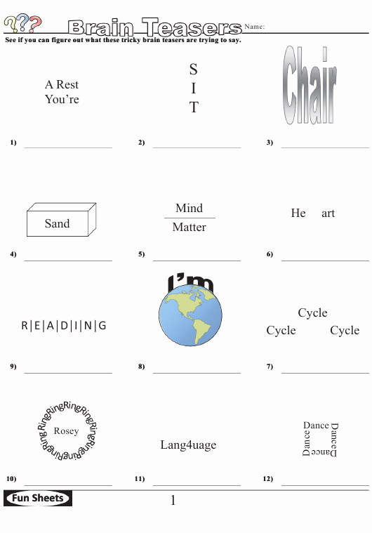 Brain Teaser Worksheets Pdf New Brain Teasers Logic Puzzle Template with Answer Key