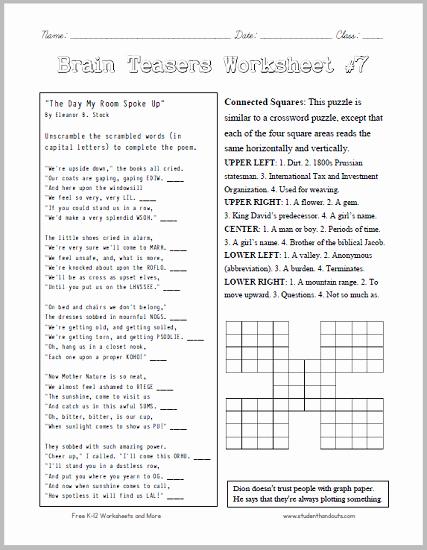 Brain Teaser Worksheets Pdf New Brain Teasers Worksheet 7