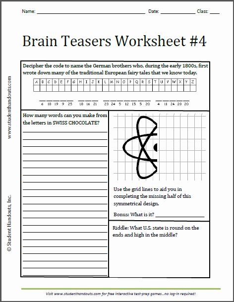 Brain Teaser Worksheets Unique Brain Teasers Worksheet 4