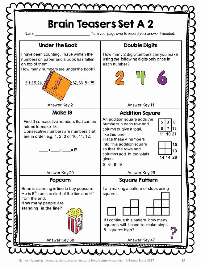 Brain Teasers for Kids Worksheet Awesome 22 Interesting Printable Brain Teasers