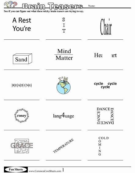 Brain Teasers for Kids Worksheet Fresh Fun Worksheets