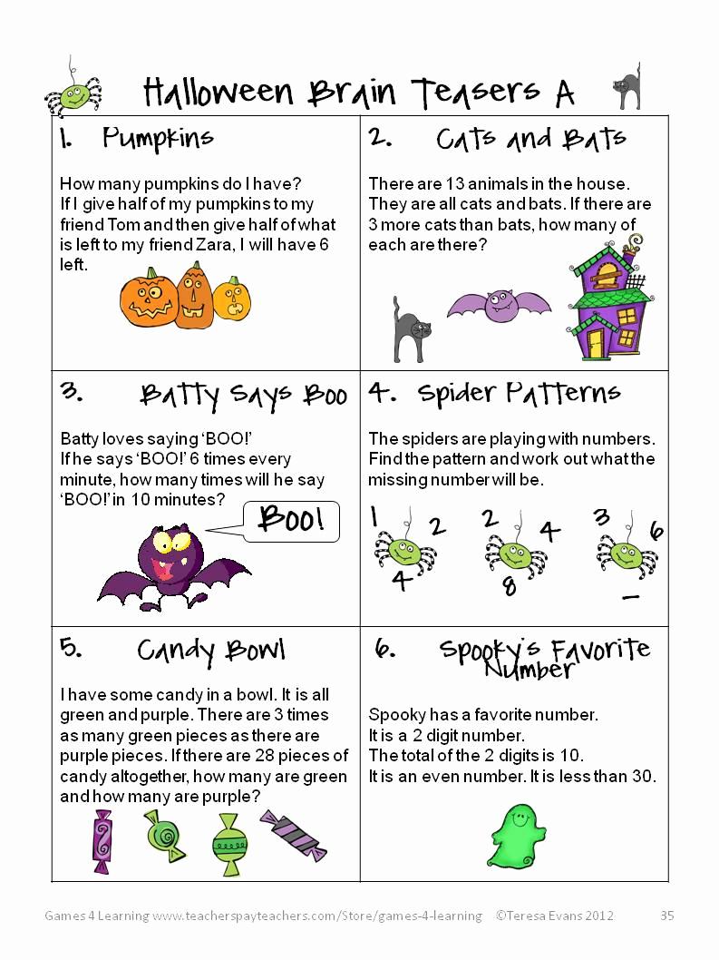 Brain Teasers for Kids Worksheet Inspirational Fun Games 4 Learning Halloween Math Fun
