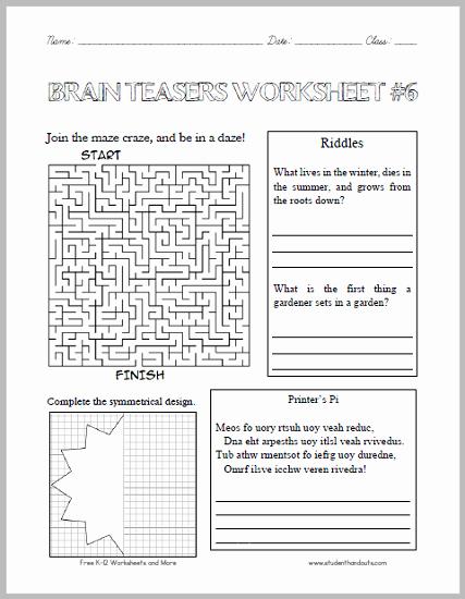 Brain Teasers for Kids Worksheet Lovely Brain Teasers Worksheet 6 Here is A Fun Handout Full Of