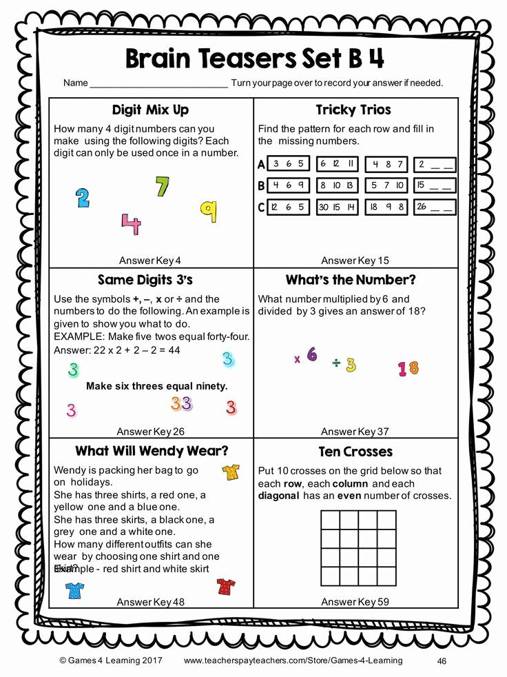 Brain Teasers for Kids Worksheet Luxury Brain Teasers Printable Worksheets In 2020