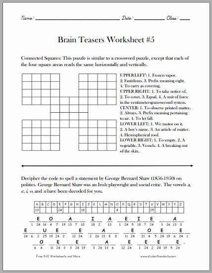 Brain Teasers for Kids Worksheet New Brain Teasers for Kids Worksheet 5 Free to Print Pdf