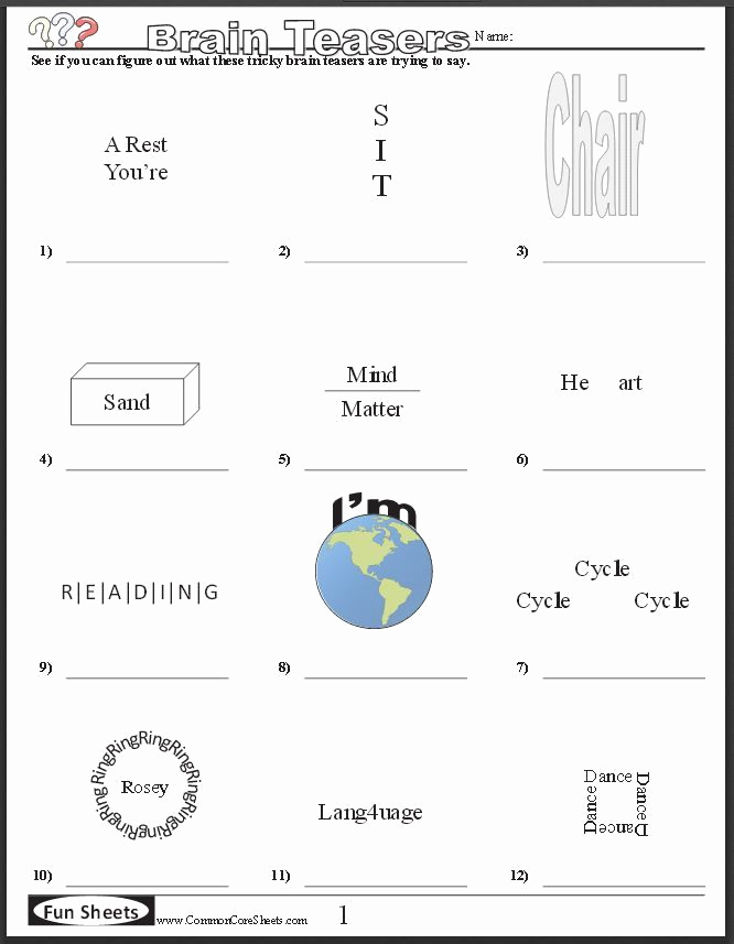 Brain Teasers for Kids Worksheet Unique Free Brain Teaser Printables Four Free Worksheets that