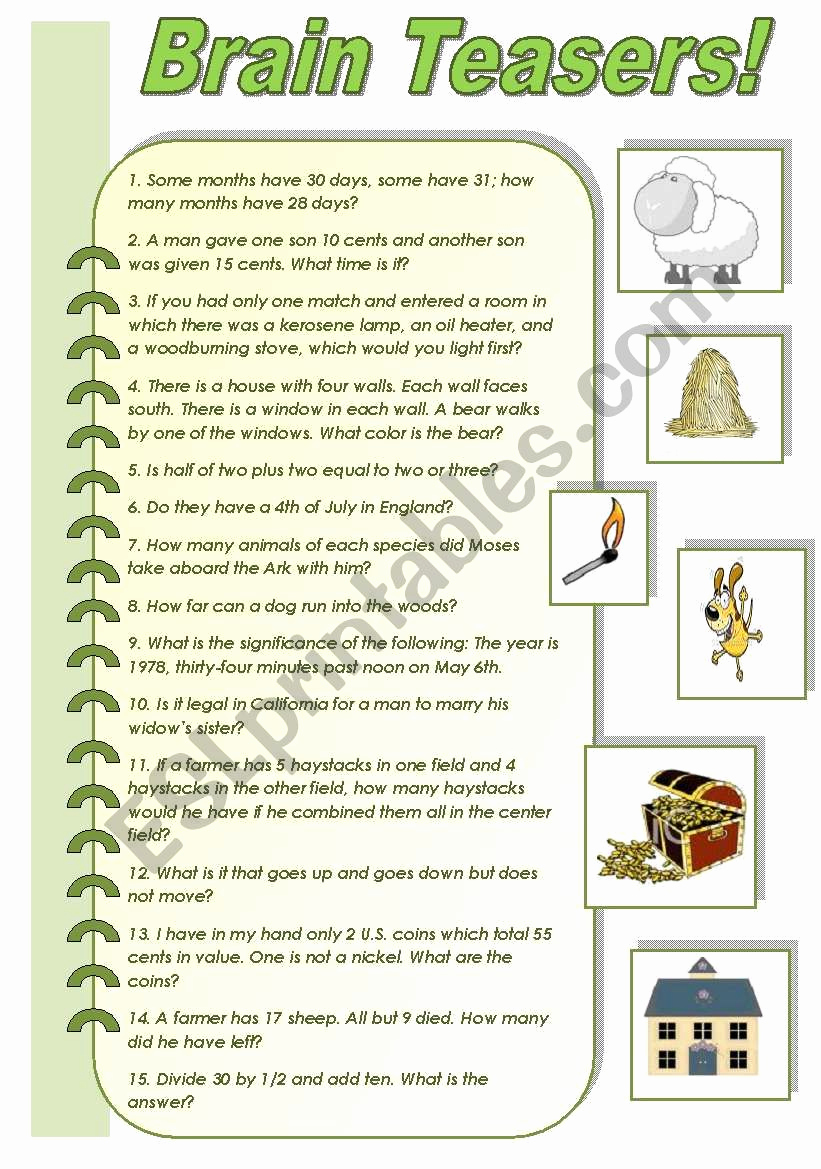 Brain Teasers Worksheet 2 Answers Awesome Brain Teaser Worksheets for Grade 2 Free Worksheet