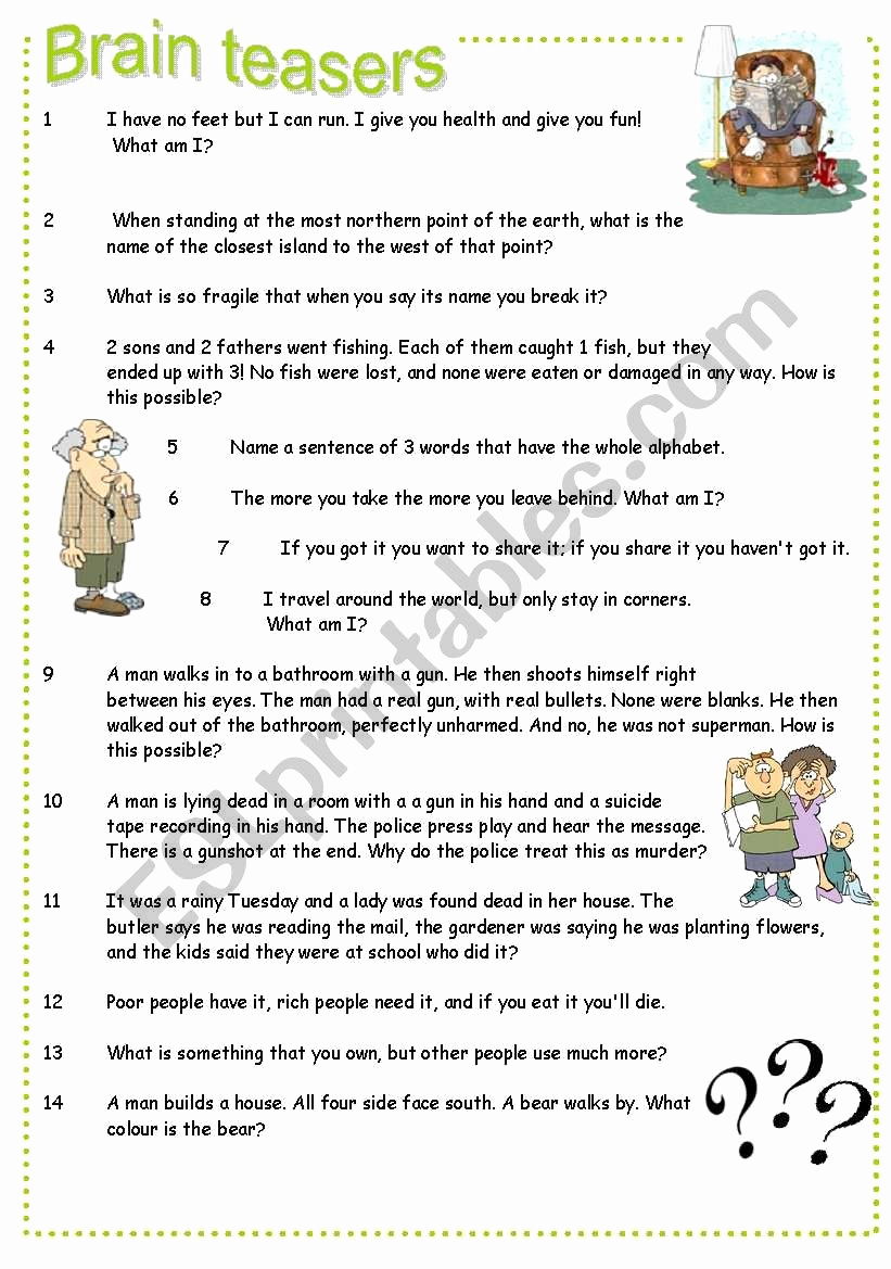 Brain Teasers Worksheet 2 Answers Awesome Brain Teasers Worksheet 2 Answers