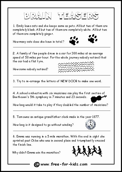 Brain Teasers Worksheet 2 Answers Beautiful Brain Teasers Worksheet 2 Answers