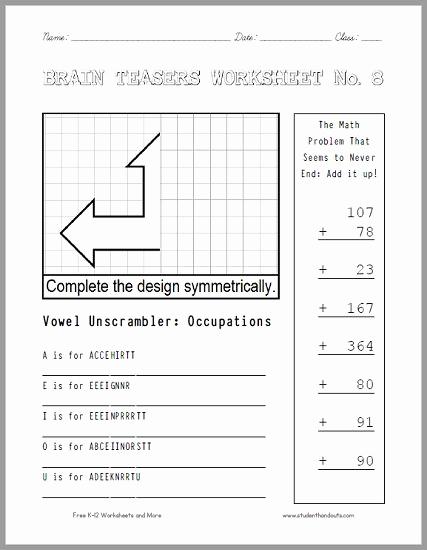 Brain Teasers Worksheet 2 Answers Elegant Brain Teasers Worksheet 8