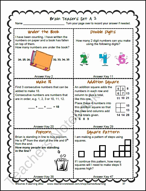 Brain Teasers Worksheet 2 Answers Fresh Brain Teasers Minis and the O Jays On Pinterest