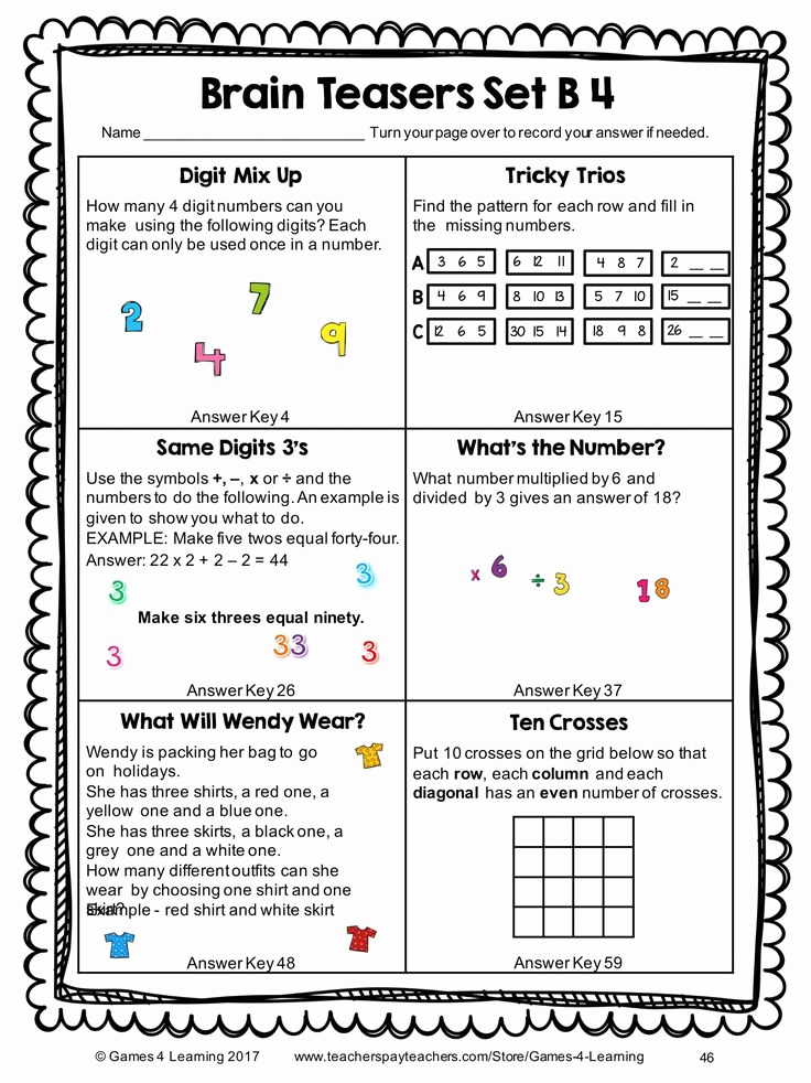 Brain Teasers Worksheet 2 Answers Inspirational Brain Teasers Printable Worksheets In 2020