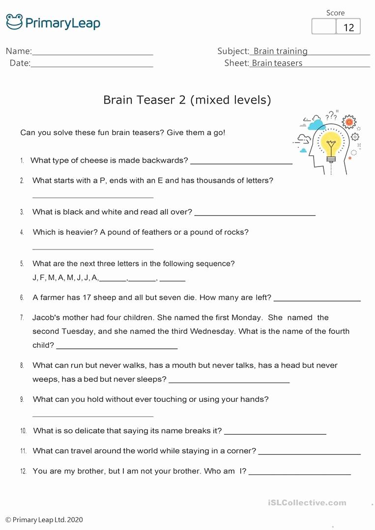 Brain Teasers Worksheet 2 Answers Luxury Brain Teasers Worksheet 2 Answers