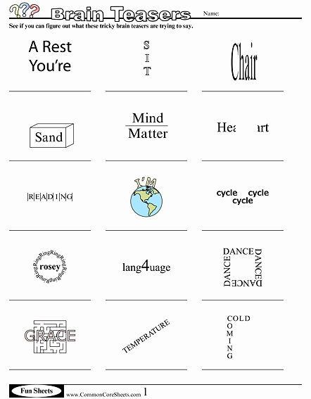 Brain Teasers Worksheet 2 Answers Unique Fun Worksheets