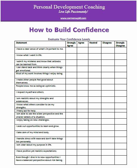 Building Self Confidence Worksheets New Personal Development Worksheets Free