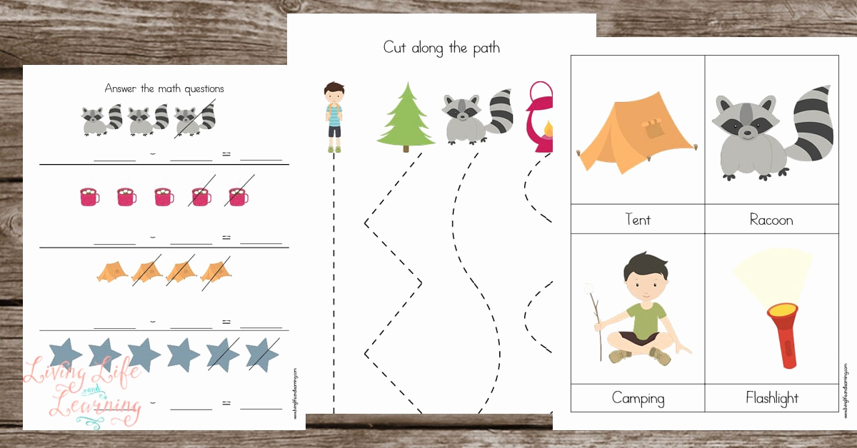 Camping themed Worksheets Awesome Camping Preschool Printables