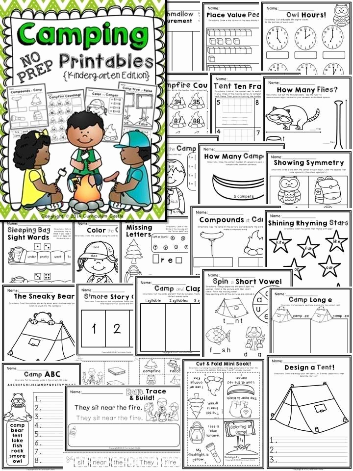 Camping themed Worksheets Awesome Camping Worksheets for Kindergarten Camping Kindergarten