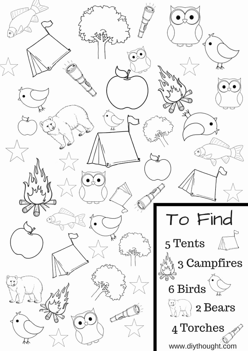 Camping themed Worksheets Best Of 8 Free Kids Printables to Take Camping Diy thought