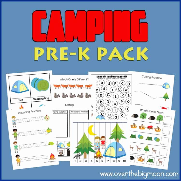 Camping themed Worksheets Elegant Camping Pre K Printables Pack