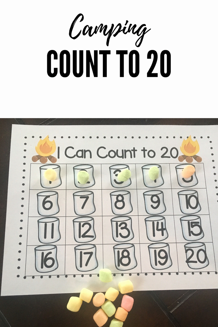 Camping themed Worksheets Fresh Camping themed Math Counting to 20 with Marshmallows