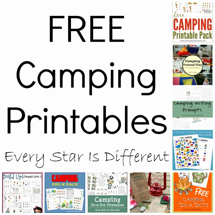 Camping themed Worksheets Lovely Free Camping Printables Every Star is Different