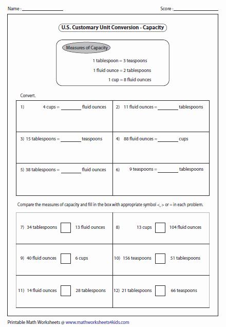 Capacity Conversion Worksheet Beautiful U S Customary Unit Conversion Worksheets
