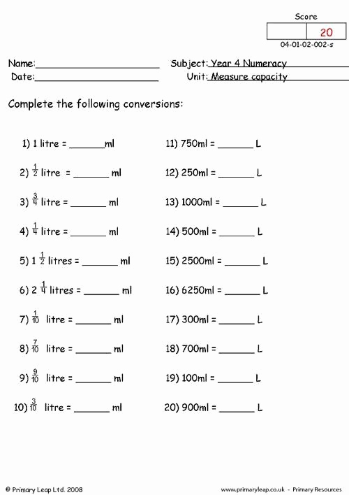 Capacity Conversion Worksheet Lovely Capacity Maths Worksheets Numeracy Measuring Capacity