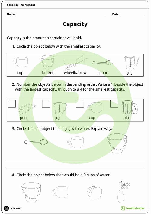 Capacity Worksheets 3rd Grade Awesome Capacity Worksheet Teaching Resource