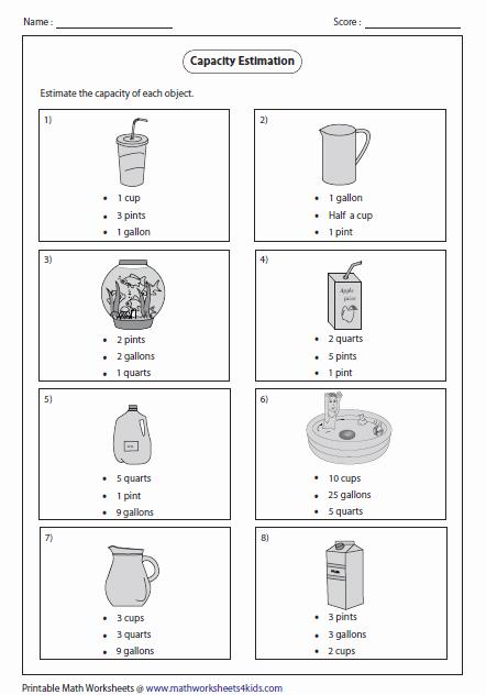 Capacity Worksheets 3rd Grade Best Of Estimating Capacity