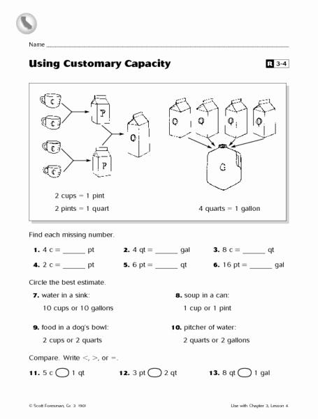 Capacity Worksheets 3rd Grade Best Of Using Customary Capacity Worksheet for 3rd Grade