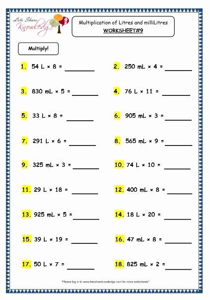 Capacity Worksheets 3rd Grade Elegant Grade 3 Maths Worksheets 13 5 Measurement Of Capacity